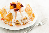 Crepes with fruit and cream