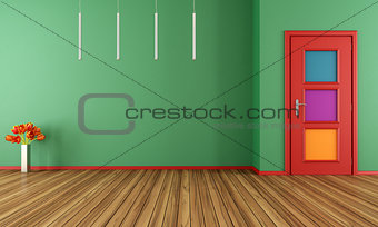Empty green modern interior with door