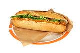 Deluxe sandwich chicken satay salad pistolet.