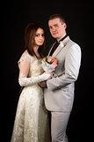 Happy romantic newlyweds