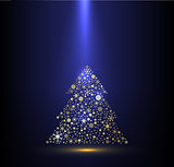 Gold and blue background for Christmas celebration.
