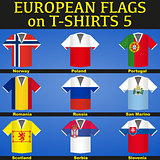 T-shirts painted in flags of countries