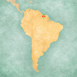 Map of South America - Suriname (Vintage Series)