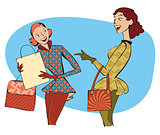 Retro women shopping