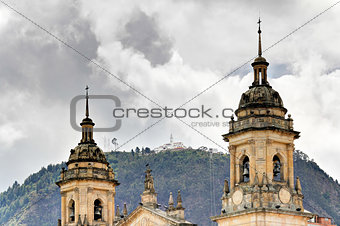 Cathedral of Bogota with Monserrate