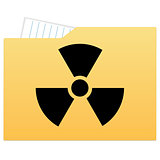 File folder with radiation sign