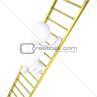 3d white man rises through golden stairs
