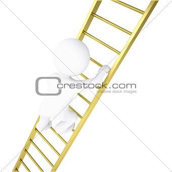 3d white man rises through golden stairs