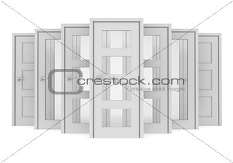 Group of white doors
