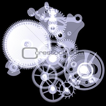 Clock mechanism. X-ray render