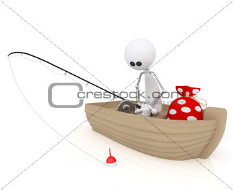 3d white little man fisherman.