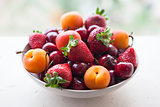 Assorted colorful fresh summer berries and fruits - apricots, ch