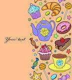 seamless pattern with sweets, teapot and cup