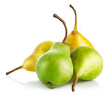 fresh green and yellow pears
