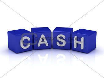 CASH word on blue cubes