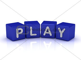 PLAY word on blue cubes