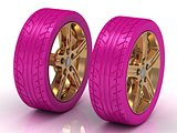 2 pink wheels with a gold disc