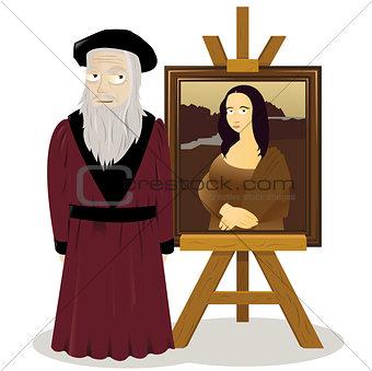 Mona Lisa Easel and Leonardo Da Vinci