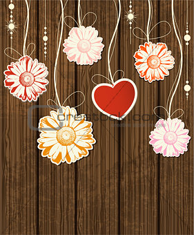 Background with heart and flowers