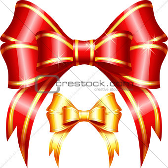 Vector red and gold gift bow and ribbon