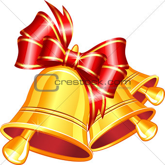 Vector gold jingle bells with red bow.