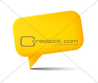 Abstract yellow glossy speech bubble with shadow