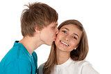 Boy kisses girl
