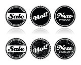 Shopping retro badges - sale, new, hot product