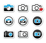 Camera analogue and digital icons set
