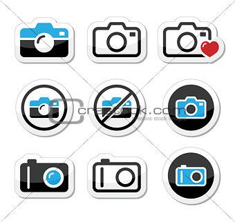 Camera analogue and digital icons set