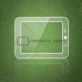 sketch tablet pc on school blackboard