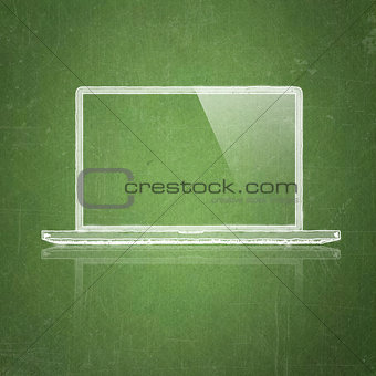 sketch tablet pc on school blackboard