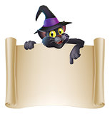 Halloween cat scroll sign