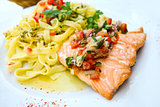pasta and smoked salmon with tomato