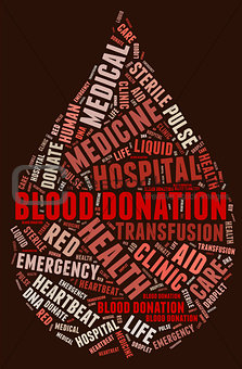 Blood donation pictogram with blood red wordings