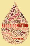 Blood donation pictogram with red wordings with yellow backgroun