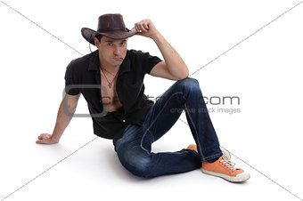 man in a cowboy hat isolated on white