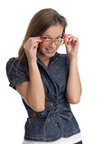 girl wear nerd glasses isolated on white
