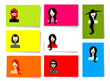 Set of woman's portraits, 10 cards for your design with place for your text