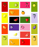Set of fruits, 20 cards for your design with place for your text
