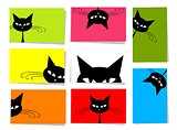 Set of funny cats, 10 cards for your design with place for your text