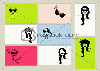 Business cards design, female faces