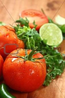 Tomatoes on a Rustic Wood Plank