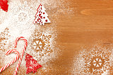 Christmas background with Candies, snowflakes and decorative Chr