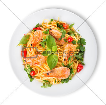 Prawns on spaghetti