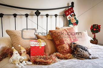 Christmas bedroom interior