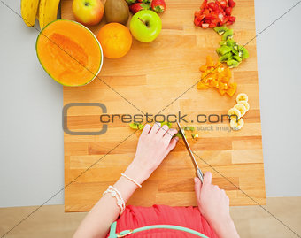 Portrait of young housewife making fruits salad
