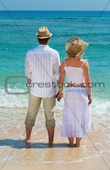 Couple enjoying at beach back view