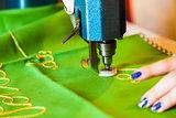 Lady hand at sewing