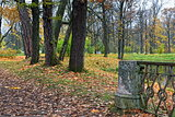 Autumn landscape in Catherine garden in Pushkin